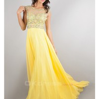 Beaded Tulle Bodice Backless Chiffon Scoop Prom Dresses - by OKDress UK
