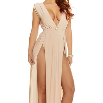 Even Split Sleeveless Gown - Nude