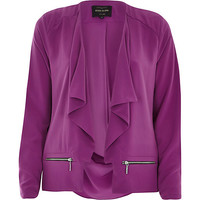 River Island Womens Purple draped long sleeve jacket