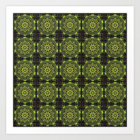 Green Marble Fractal Pattern Art Print by Hippy Gift Shop