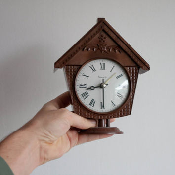 Vintage House Clock, Mechanical Wind Up Clock, USSR Vintage, Soviet Clock, Home Decor, Brown House, Rustic, Bat, Christmas Gift