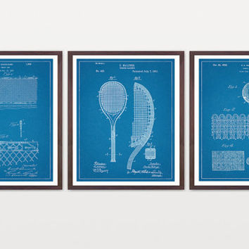Tennis Poster - Inventions of Tennis - Tennis Racquet - Tennis Balls - Tennis Net - History of Tennis Set - Tennis Art - Tennis Decor - ATP