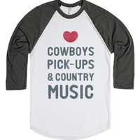 Cowboys Pickups & Country Music (Baseball Tee)-T-Shirt