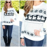 SZ LARGE Frost Bite Ivory Fair Isle Reindeer Sweater