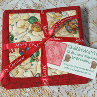 Quilted Christmas Coasters  - Season's Greetings 364