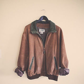Vintage LL BEAN Bomber Brown Leather Jacket Brown Green Trim  Men's Size Large Insulated Fully Flannel Plaid Lined Flight Coat