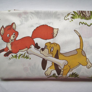 Vintage Disney Fox and the Hound TWIN Fitted Bed Sheet Craft Fabric RARE 1980 Clean Used Kids Bedding