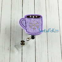 Purple Hot Cocoa  ID Badge - Embroidered Felt Badge Reel - Retractable ID Badge Holder - Badge Reel Clip - Medical Badge