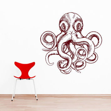 Wall Decal Vinyl Sticker Decals Art Home Decor Design Murals Octopus Tentacles Poulpe Delfish Fish Deep Sea Ocean Bedroom Bathroom AN654