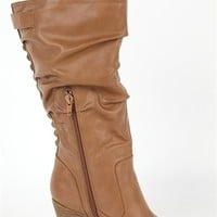 Tall Round Toe Boot with Stacked Wood Heel and Studded Back