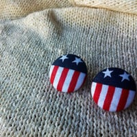 American Flag Fabric Button Earrings, Covered Button Earrings, Red White Blue, Patriotic Earrings, Wonder Woman Earrings, Captain America