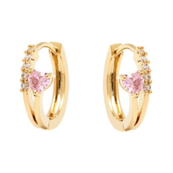 18K Gold Plated Gold and Rose Swarovski Elements Heart Huggie Earrings