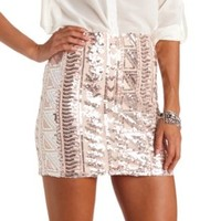 Bodycon Tribal Sequin Mini Skirt by Charlotte Russe - Pale Pink Combo