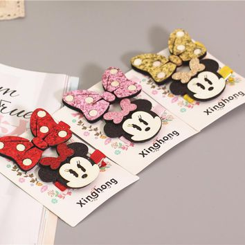 1 set 2017 kawaii bowknot girls kids hair clips bows pin haar accessories for children headdress hairpin hair barrettes hairclip
