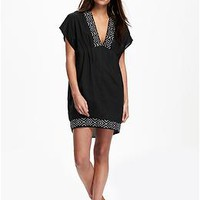 Embroidered Kimono-Sleeve Swim Cover-Up for Women