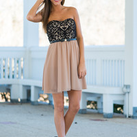 Wrapped With A Bow Dress, Tan