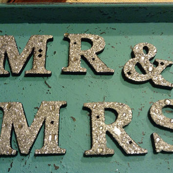 Mr & Mrs silver black rhinestone glitter bling letters for wedding, photo prop, or sweetheart table