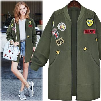 Trendy Kenancy Plus Size 5XL Bomber Jacket Coat Women Spring Autumn Long Sleeve Badge Patches Embroidered Army Green Long Outwear Coat AT_94_13