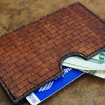 Brick Style Leather Credit Card Wallet [Customizable] [Brown]