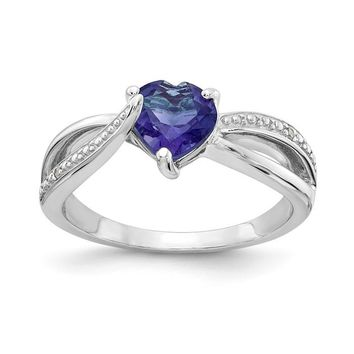 Sterling Silver 7mm Heart Created Alexandrite Genuine Diamond Accented Infinity Inspired Ring