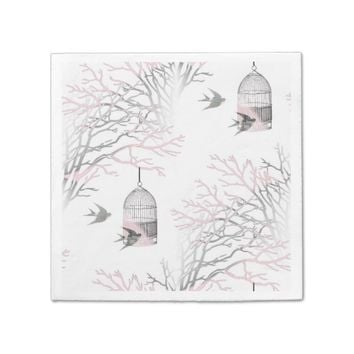 Pink Gray Birdcage Bare Branches Napkins