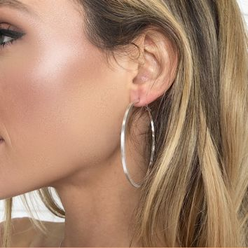 Plated Silver Hoop Earrings