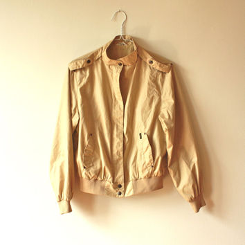 Beige Military Lapel Bomber Jacket Women's Small