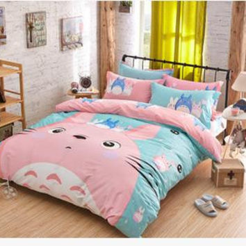 Fast Shpping Cartoon Totoro Bedding Sets Queen Size Bed Linen Bedclothes Printed Bed Sheet Duvet Cover Se