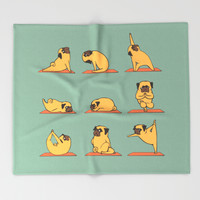 Pug Yoga Throw Blanket by Huebucket | Society6
