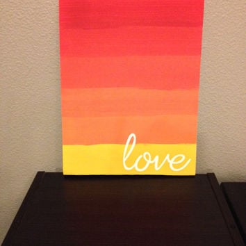 Wood Love Sign Ombre sunset