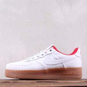 hcxx N005 Nike Air Force 1 07TXT Low Causal Skate Shoes Grey Red Maroon