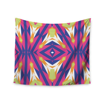 "Miranda Mol ""Tulip Tribal"" Green Blue Wall Tapestry"