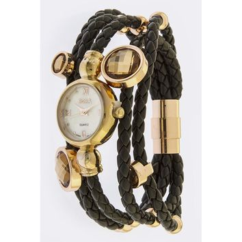 Black Braided Band Watch
