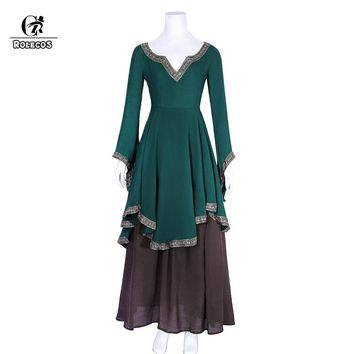 ROLECOS Renaissance Retro Dress for Women Victorian Long Shirt Medieval Halloween Cosplay Costume Plus Size Vintage 2Pcs