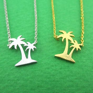 Palm Trees Silhouette Shaped Island Vibes Pendant Necklace