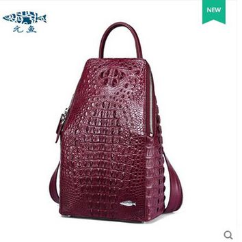 yuanyu crocodile leather double shoulder bag real Thailand imported alligator leather women backpack large capacity  women bag