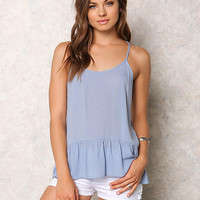 Dusty Blue Crepe Caged Ruffle Tank Top