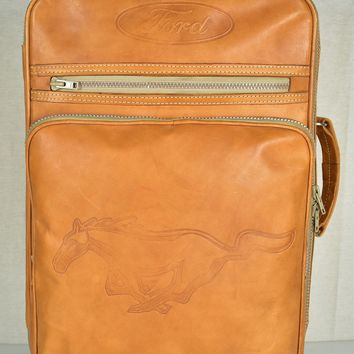 Vintage Ford Mustang Leather Travel Suitcase / Carry-On