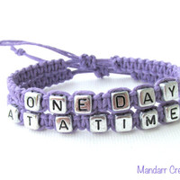 One Day at a Time Bracelet Set, Lavender Purple Handmade Hemp Jewelry, Recovery Bracelets