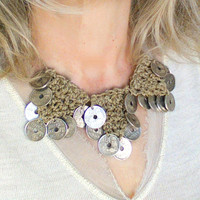 Bold chunky crochet necklace with silver coins, tribal fusion kuchi style, gypsy boho bridal jewelry, nomad jewelry for bohemian wedding