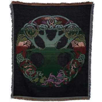 Rainbow Celtic Tree of Life Throw Blanket