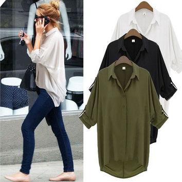 Womens Casual Long Sleeve Chiffon Shirt Turn-down Collar Loose Top Blouse [8805233031]