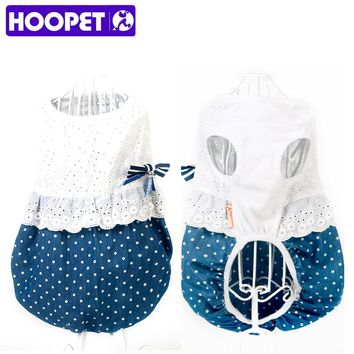 HOOPET Pet Dog Clothes Blue and White Bowknot Dress Summer Lovely Sleeveless Skirt Petticoat