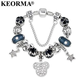 Animal Mickey Mouse Charm Bracelets & Bangle Original DIY Blue Minnie charms bracelet