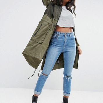 ASOS Parka With Mesh Layer and Sleeve Detail at asos.com