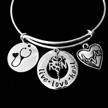 Live Love Heal Nurse Jewelry RN EKG Adjustable Bracelet Silver Expandable Bangle Stethoscope Heartbeat One Size Fits All Gift