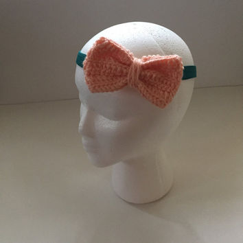 Crochet Bow Headband / Elastic Headband / Crochet Bow / Bow Headband / Toddler Fashion / Little Fashion