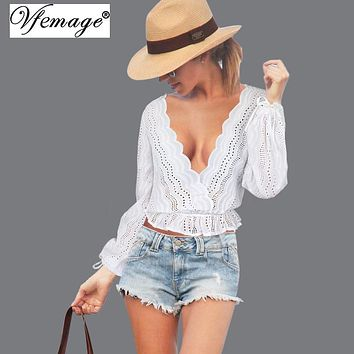 Vfemage Open Back Sexy V Neck Tie up Girl Ladies Womens Backless Crop Top Tees Summer Casual Party Beach Blouse 4862