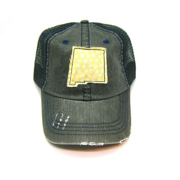 New Mexico Trucker Hat - Distressed - Floral Fabric State Cutout