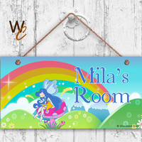 "Fairy Sign, Rainbow Sign,  Personalized Sign, Kid's Name, Kids Door Sign, Baby Nursery Wall Art, 5"" x 10"" Sign, Girls Room, Made To Order"
